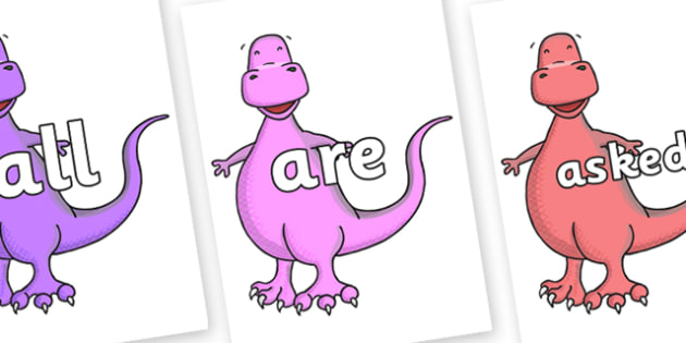 Tricky Words on Tyrannosaurus - Tricky words, DfES Letters and Sounds, Letters and sounds, display, words