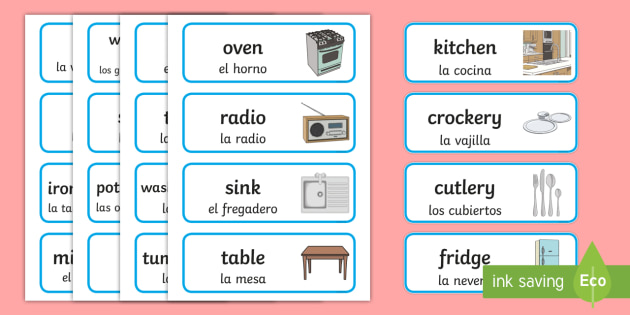 Kitchen Word Cards English Spanish Kitchen Word Cards