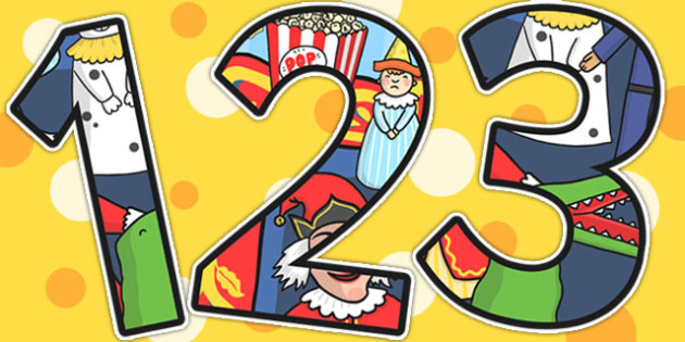 Punch and Judy Themed Display Numbers - story, number, display
