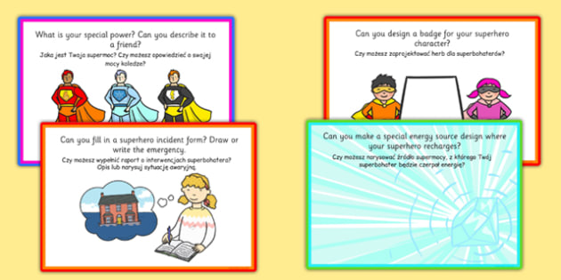 Superhero Role Play Challenge Cards Polish Translation - polish, superhero, role-play, challenge, cards