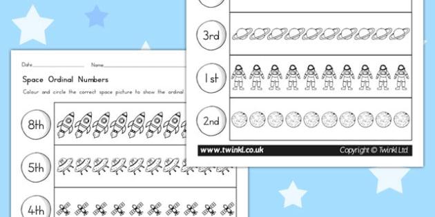 Space Themed Ordinal Numbers Worksheet - australia, space, number
