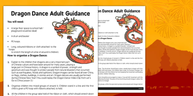 Dragon Dance Adult Guidance Sheet - dragon dance, adult, guidance