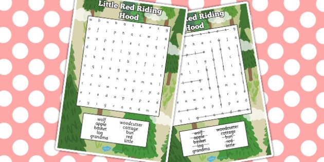 Little Red Riding Hood Wordsearch - Little, Red, Riding, Hood