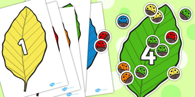Ladybird and Leaf Counting Activity to 10 - counting, activity