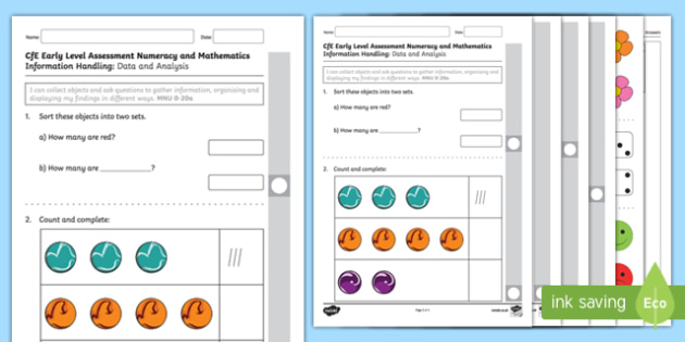 CfE Early Level Assessment Numeracy and Mathematics   Information Handling Activity Sheet-Scottish