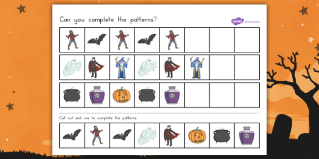 Halloween Complete the Pattern Worksheet -  Spooky, October,patterns, numbers, activity, filler, worksheet, sheet, colours