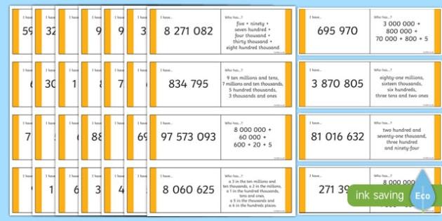 KS2 6 7 8-Digit Place Value Loop Cards