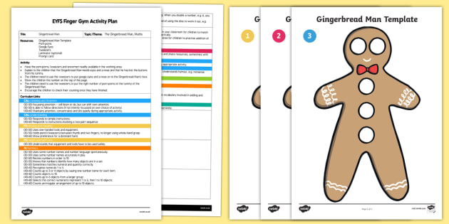 EYFS The Gingerbread Man Finger Gym Plan and Resource Pack - The Gingerbread Man, Traditional Tales, funky fingers, ginger, tweezers, googly eyes, buttons, count