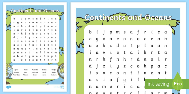 Continents and oceans word search countries earth world continents and oceans word search countries earth world map vocabulary gumiabroncs Gallery