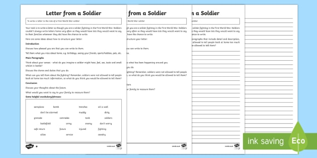 Write a Letter from a WW1 Soldier - Writing Worksheet