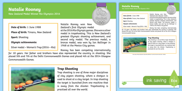 New Zealand Olympic Medal Winner   Natalie Rooney Fact File
