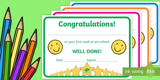 FREE! - First Week Award Certificates (Kindergarten & Pre ...