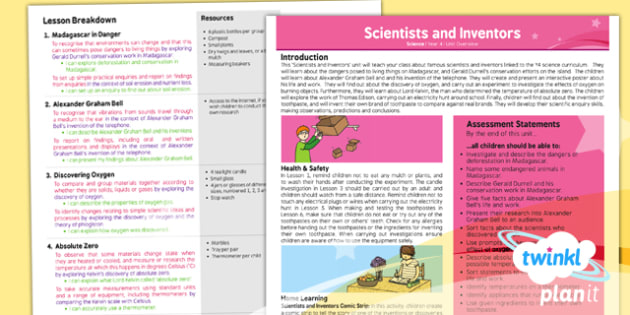 Science: Scientists and Inventors Year 4 Planning Overview
