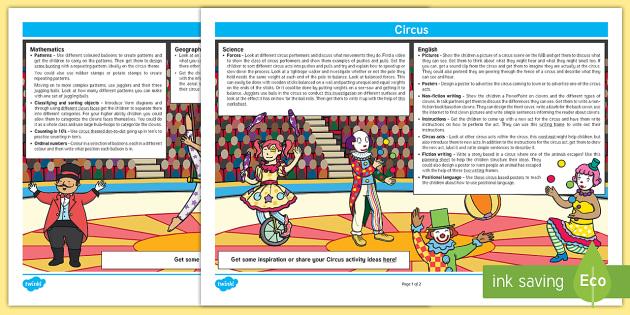 Circus Lesson Plan Ideas KS1 - circus, lesson plan, lesson plan idea, lesson ideas, lesson planning, teaching plan, KS1, key stage 1, KS1 lesson ideas