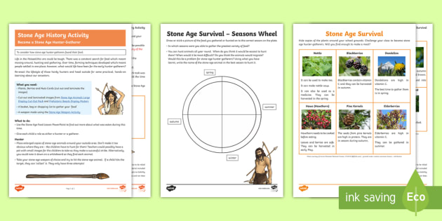 Ks2 Stone Age Hunter Gatherer Activity Stone Age Prehistoric