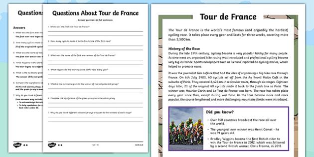 KS2 Tour de France Differentiated Reading Comprehension Activity