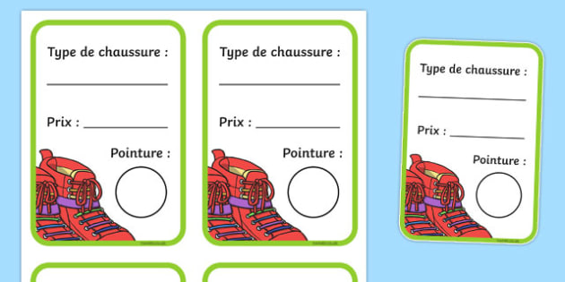 Shoe Shop Role Play Shoe Box Labels French - french, Shoe shop, shoes, role play, shop, trainers, display, poster, shoe box, labels, measuring chart, word cards