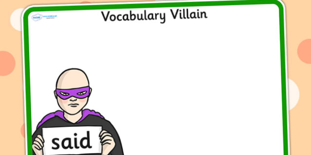 Editable Vocabulary Villain Said Word Mat - word mat, editable word mat, emotions, vocabulary mat, editable vocabulary mat, mat of word, said word mat