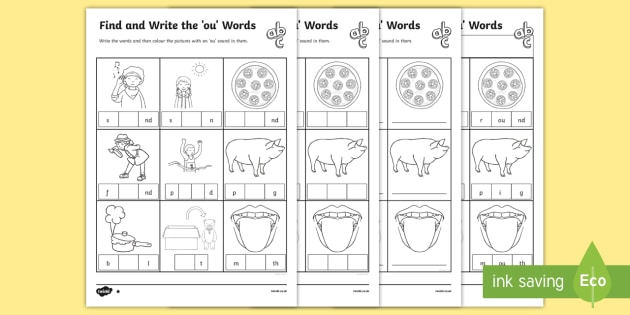 7 letter words ending with ted find and write the ou words differentiated worksheet 25234