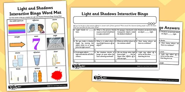 worksheet worksheet light and shadows interactive bingo activity light. Black Bedroom Furniture Sets. Home Design Ideas