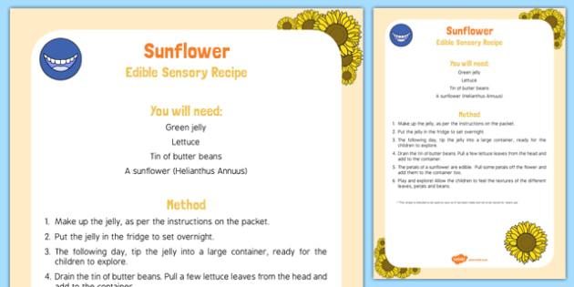 Sunflower Edible Sensory Recipe
