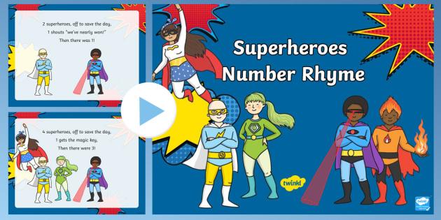 superheroes number rhyme powerpoint superheroes number rhyme