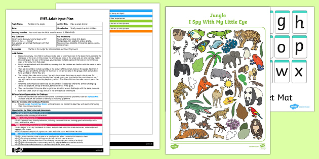 I Spy a Jungle Animal EYFS Adult Input Plan - input plan, jungle