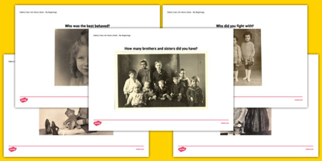 Elderly Care Life History Book Brothers and Sisters Picture Prompts - Elderly, Reminiscence, Care Homes, Life History Books
