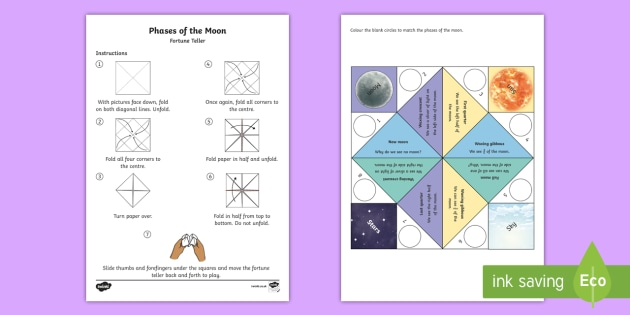 Moon Phases Fortune Teller Template