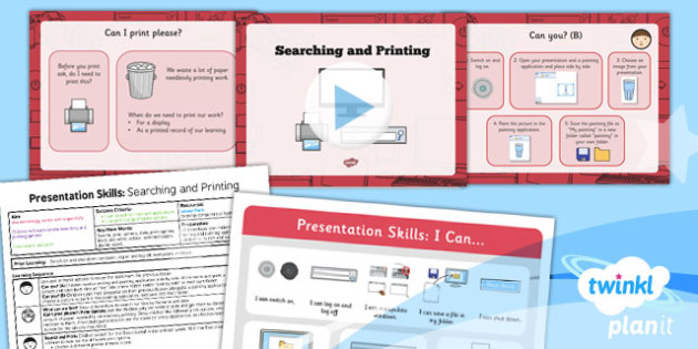 Computing: PowerPoint Presentation Skills: Searching and Printing Year 2 Lesson Pack 6