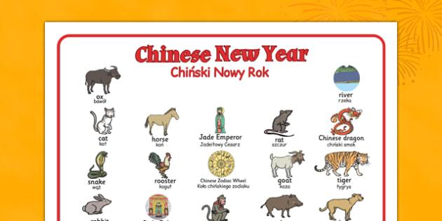 Chinese New Year Story Word Mat Polish Translation - polish, chinese new year, story, word mat, word, mat