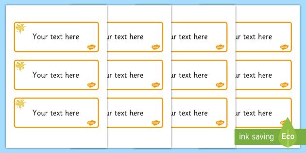 Amber Themed Editable Drawer-Peg-Name Labels (Blank) - Themed Classroom Label Templates, Resource Labels, Name Labels, Editable Labels, Drawer Labels, Coat Peg Labels, Peg Label, KS1 Labels, Foundation Labels, Foundation Stage Labels, Teaching Labels