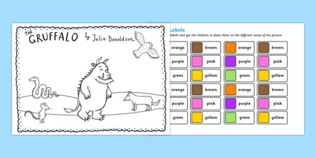 The Gruffalo Colour Labels Activity - gruffalo, colour, labels, activity, colour labels, gruffalo labels, gruffalo activity, colouring, colours activity