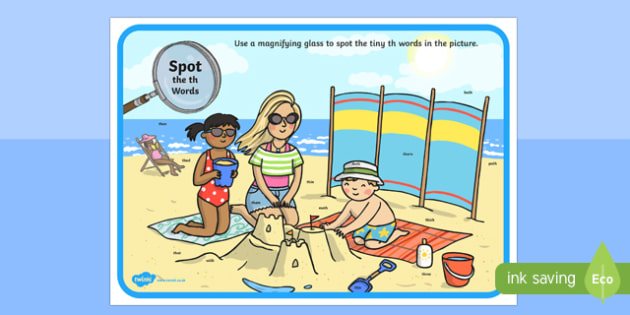 Phase 3 th Words Beach Scene Magnifying Glass Activity Sheet, worksheet