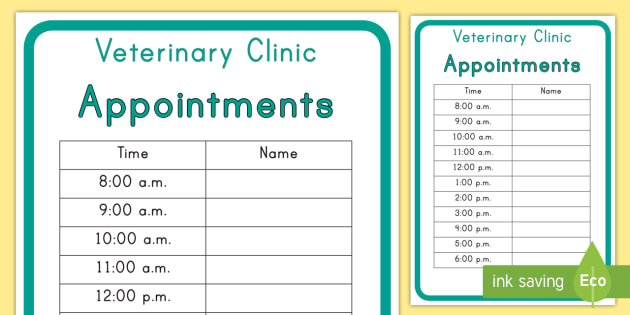 Veterinary Hospital Appointment Form - vets, pets, hospital, role-play