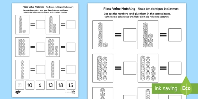 Place Value Tens And Ones Cut And Stick Worksheet