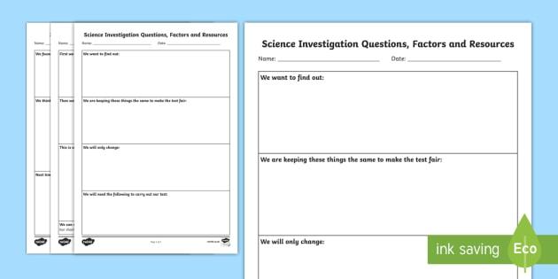 Free Science Investigation Writing Templates Scientific