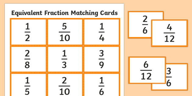 photo about Fraction Cards Printable named Comparable Fractions Matching Playing cards
