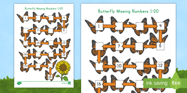 Butterfly Missing Numbers 120 Activity Sheet USA Early – Missing Number Worksheets 1-20