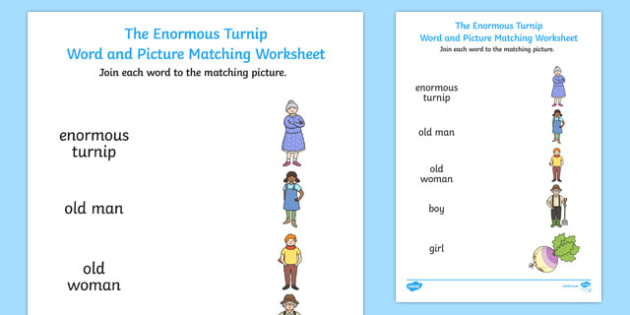 The Enormous Turnip Word and Picture Match - word, picture, match