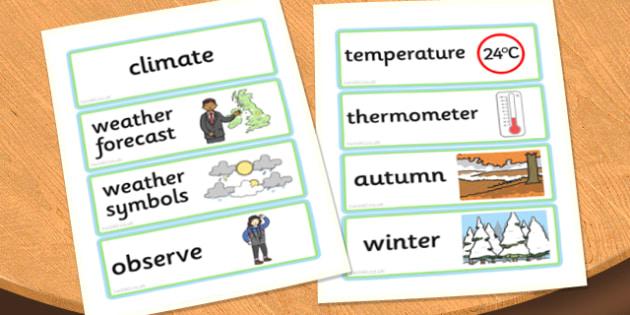Wonderful Weather Word Cards - word cards, wonderful weather