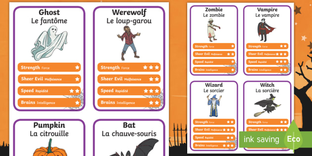 Halloween Character Top Card Game English/French  - halloween, top trump, cards, halloween activities, halloween games, playing cards