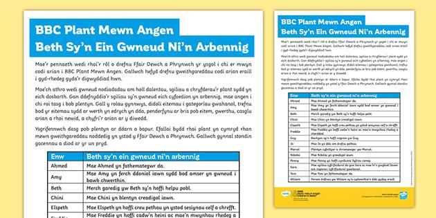 Taflen Weithgaredd CA2 Beth Sy'n Ein Gwneud Yn Arbennig? BBC Plant Mewn Angen