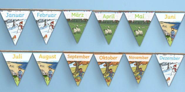 Months of the Year Display Bunting German - german, months, year, display, borders