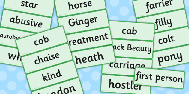 Black Beauty Word Cards - black beauty, word cards, word, cards
