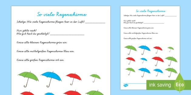 So viele Regenschirme Arbeitsblatt: Erstes Zählen - Frühling