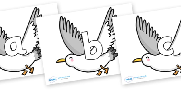 Phoneme Set on Seagulls - Phoneme set, phonemes, phoneme, Letters and Sounds, DfES, display, Phase 1, Phase 2, Phase 3, Phase 5, Foundation, Literacy
