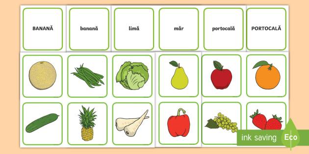 Fructe și Legume Joc De Punere în Corespondență Cuvânt
