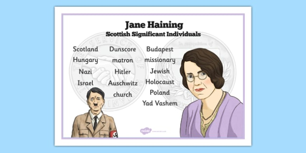 Scottish Significant Individuals Jane Haining Word Mat - Scottish significant individual, Christian, missionary, Holocaust, Jewish, Auschwitz