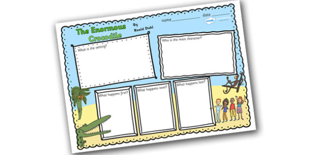 Book Review Writing Frame to Support Teaching on The Enormous Crocodile - the enormous crocodile, the enormous crocodile book review, writing frames, book review frames